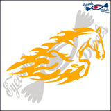 "HORSE FLAMES TRIBAL RODEO  6""  DECAL"