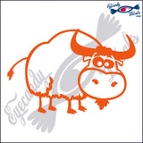 "COW CARTOON RODEO  6""  DECAL"
