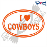 "I LOVE COWBOYS IN OVAL  5""  DECAL"
