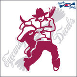 "COWBOY WRESTLING BULL RODEO  6""  DECAL"