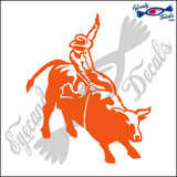 "COWBOY RIDING BULL RODEO  6""  DECAL"