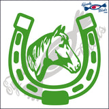"HORSESHOE WITH HORSE HEAD  RODEO  5""  DECAL"