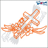 "CROSS WITH FLOWERS 6"" DECAL"