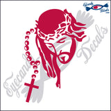 "JESUS FACE WITH ROSARY 6""  DECAL"