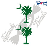 "SOUTH CAROLINA PALMETTO MOON (SIMPLE STYLE)  3""  DECAL 2 PACK"