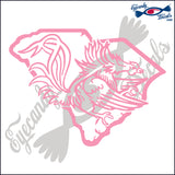 "GAMECOCK DIE-CUT WITHIN SOUTH CAROLINA 6"" DECAL"