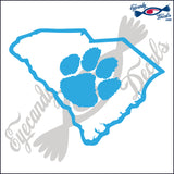 SOUTH CAROLINA STATE OUTLINE with PAW 6 INCH  DECAL