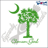 "CLEMSON GIRL UNDER SOUTH CAROLINA PALMETTO AND MOON  6""  DECAL"