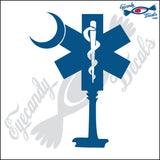 "MEDICAL SYMBOL AS SOUTH CAROLINA PALMETTO AND MOON  6""  DECAL"