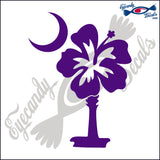 "HIBISCUS FLOWER AS SOUTH CAROLINA PALMETTO AND MOON  6""  DECAL"