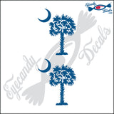 "SOUTH CAROLINA PALMETTO MOON (DETAILED STYLE)  3""  DECAL 2 PACK"