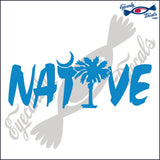 "NATIVE WITH SOUTH CAROLINA PALMETTO AND MOON  6""  DECAL"