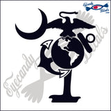 "MARINES LOGO AS SOUTH CAROLINA PALMETTO MOON  6""  DECAL"