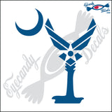 "AIR FORCE LOGO AS SOUTH CAROLINA PALMETTO MOON  6""  DECAL"