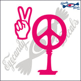 "PEACE SIGN AND PEACE HAND AS SOUTH CAROLINA PALMETTO MOON  6""  DECAL"