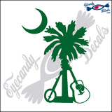 SOUTH CAROLINA PALMETTO AND MOON with BANJO and GUITAR 5 INCH  DECAL