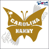 SOUTH CAROLINA PALMETTO AND MOON with CAROLINA NANNY IN BUTTERFLY 6 INCH  DECAL SILVER