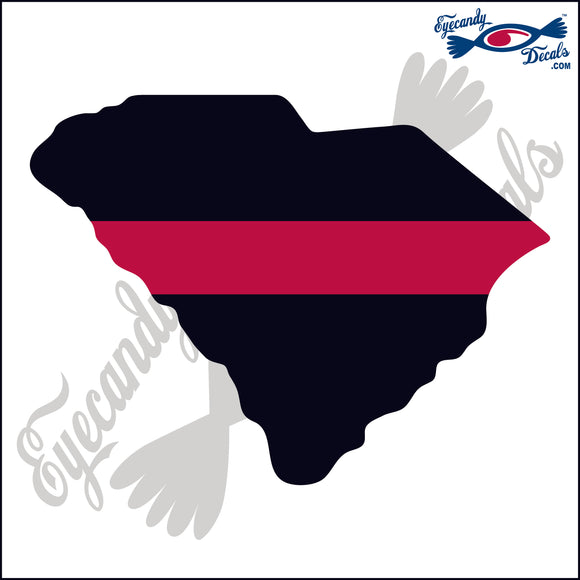 SOUTH CAROLINA STATE OUTLINE BLACK WITH RED STRIPE FOR FIRE FIGHTERS  6