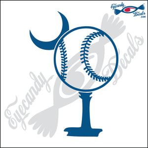 "BASEBALL AS SOUTH CAROLINA PALMETTO MOON  6""  DECAL"