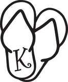 "K -  SANDAL MONOGRAM LETTER DECAL 5"" TALL"