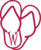"W -  SANDAL MONOGRAM LETTER DECAL 5"" TALL"
