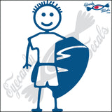 "STICK FAMILY BOY WITH BOOGIE BOARD   4"" DECAL"
