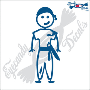 "STICK FAMILY BOY PIRATE   4"" DECAL"