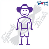 "STICK FAMILY BOY WEARING COWBOY HAT   4"" DECAL"