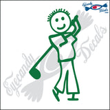 "STICK FAMILY BOY PLAYING GOLF   4"" DECAL"