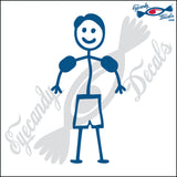 "STICK FAMILY BOY TODDLER WITH SWIMMIES   4"" DECAL"