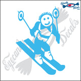 "STICK FAMILY BOY SKIING   4"" DECAL"