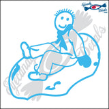 "STICK FAMILY BOY SNOWTUBING   4"" DECAL"