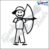 "STICK FAMILY BOY ARCHER   4"" DECAL"