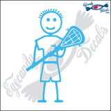 "STICK FAMILY BOY LACROSSE PLAYER   4"" DECAL"
