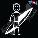 "STICK FAMILY BOY SURFER   4"" DECAL"