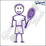 "STICK FAMILY BOY TENNIS PLAYER   4"" DECAL"