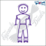 "STICK FAMILY BOY WEARING ROLLER SKATES   4"" DECAL"
