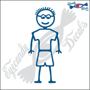 "STICK FAMILY BOY WEARING GLASSES   4"" DECAL"