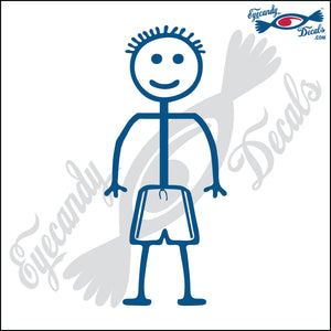 "STICK FAMILY BOY GOING SWIMMING   4"" DECAL"