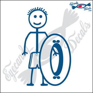 "STICK FAMILY BOY GOING TUBING   4"" DECAL"