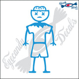 "STICK FAMILY BOY ZOMBIE WITH X EYES   4"" DECAL"