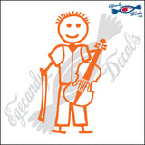 "STICK FAMILY BOY PLAYING VIOLIN   4"" DECAL"