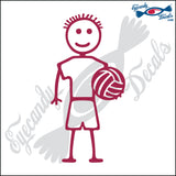 "STICK FAMILY BOY HOLDING VOLLEYBALL   4"" DECAL"