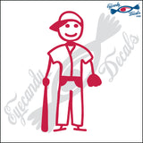 "STICK FAMILY BOY BASEBALL UNIFORM   4"" DECAL"