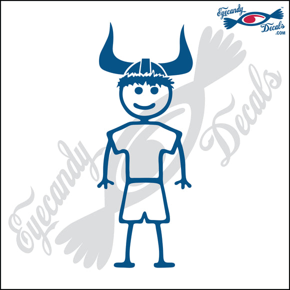 STICK FAMILY BOY WEARING VIKING HELMET 5