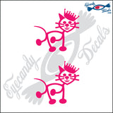 "STICK FAMILY CAT WITH PRICESS CROWN   2.5"" 2 PACK DECAL"