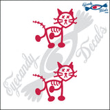 "STICK FAMILY CAT ZOMBIE WITH X EYES   2.5"" 2 PACK DECAL"