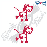 "STICK FAMILY DOG ORIGINAL   2.5"" 2 PACK DECAL"