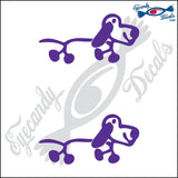 "STICK FAMILY DOG SHORTER    2.5"" 2 PACK DECAL"