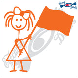 "STICK FAMILY GIRL WAVING FLAG   4"" DECAL"